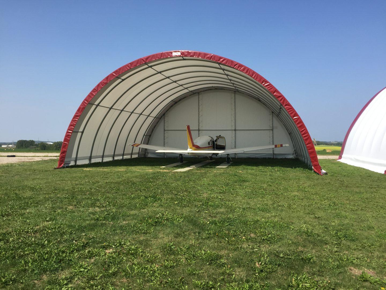 red fabric airplane hangar