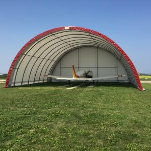 red fabric airplane hangar