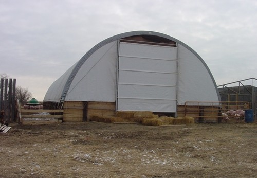 A fabric covered building is perfect for hog operations.