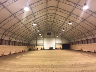 A fabric covered building is ideal for horse training and boarding.
