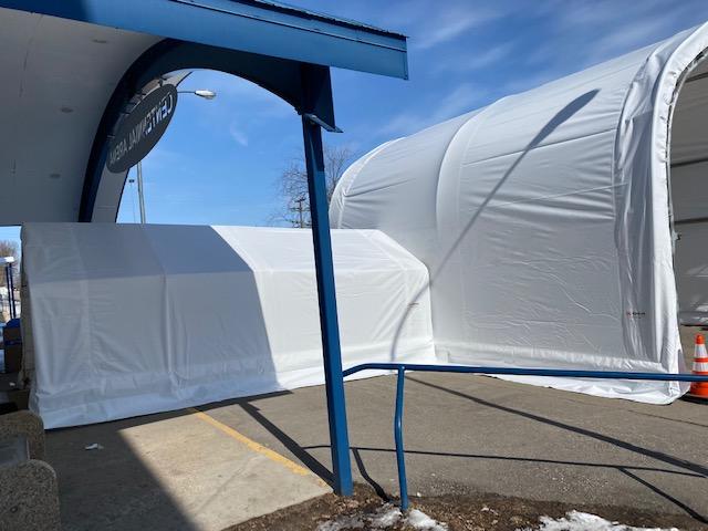 Covid-19 Drive-thru testing shelter walkway