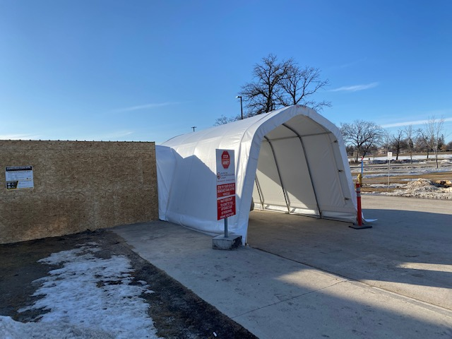Drive-thru covid-19 testing shelters